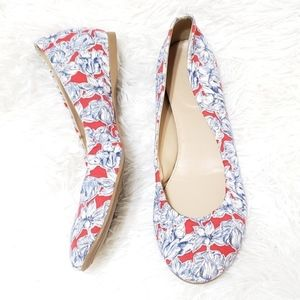 J. Crew | Red with Blue Flowers Ballet Flats